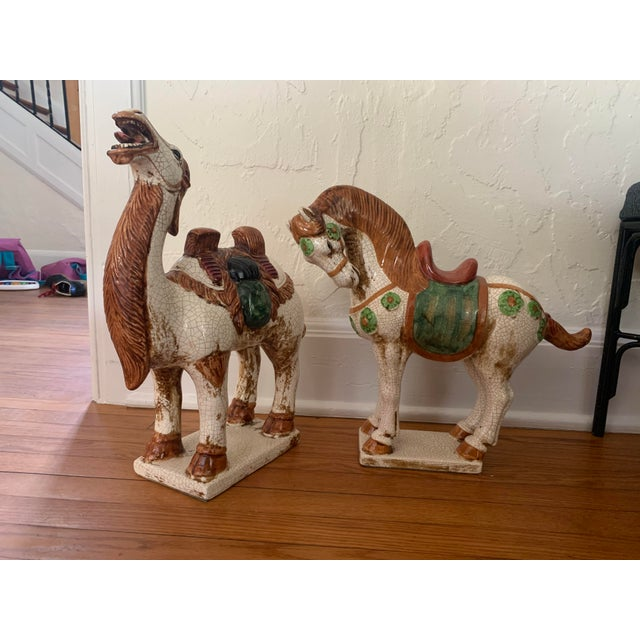 Early 20th Century Sancai-Style Ceramic Camel and Horse - Set of 2 For Sale - Image 10 of 10