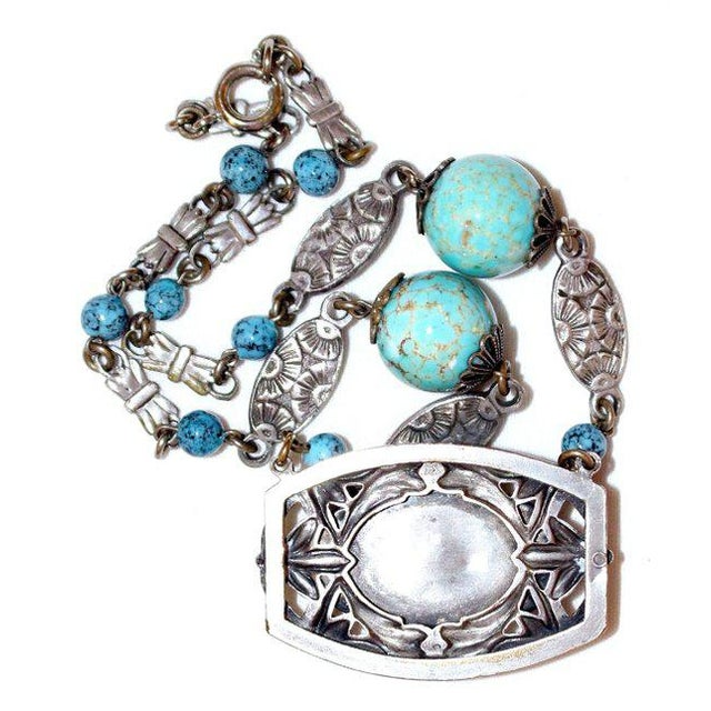 1920s Silver-Plated Turquoise Glass Necklace, Art Nouveau Design For Sale - Image 4 of 5