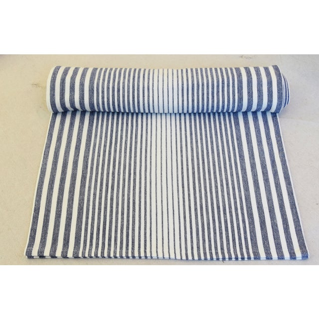 """Custom tailored 110""""L table runner created from a vintage/never used fabric depicting a blue and white stripe design...."""