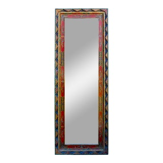 Chinese Tibetan Color Carving Wood Frame Rectangular Mirror C For Sale