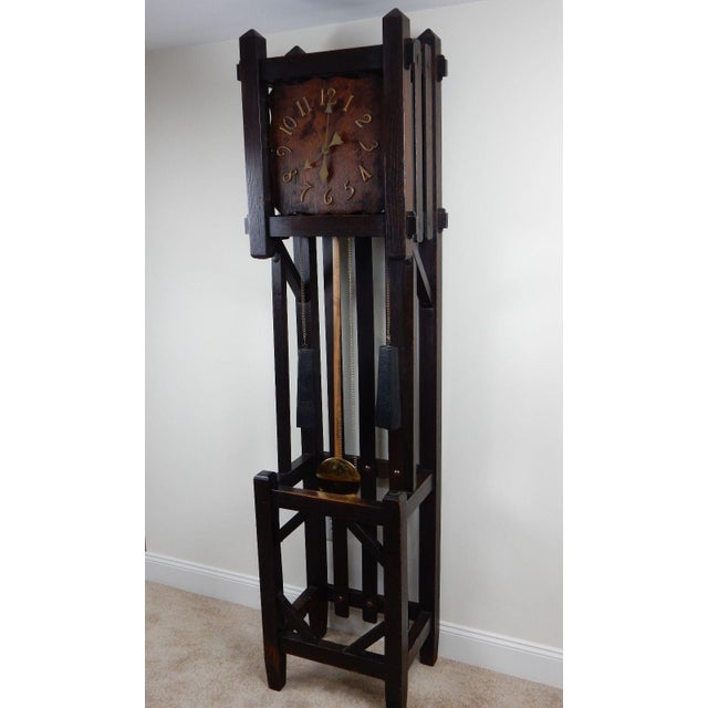 Antique Mission Arts & Crafts Tall Clock For Sale - Image 5 of 11