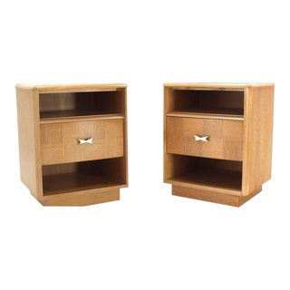Mid-Century Modern Cerused Oak Nightstands - a Pair For Sale