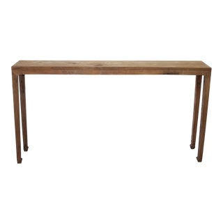 19th Century Narrow Elmwood Console Table For Sale