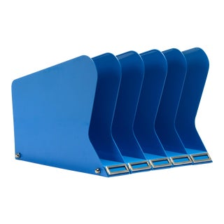 Atomic Desktop Memo/ File Holder, Refinished in Blue For Sale