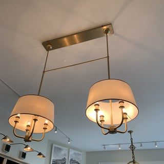 Antique Brass and Cream Shade Laura Kirar for Baker Chandelier Preview