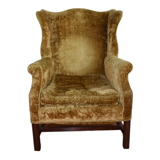 Chippendale Centennial Mahogany Frame Wing Chair For Sale