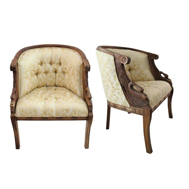 Mahogany Swan Carved Armchairs - A Pair - Image 1 of 5