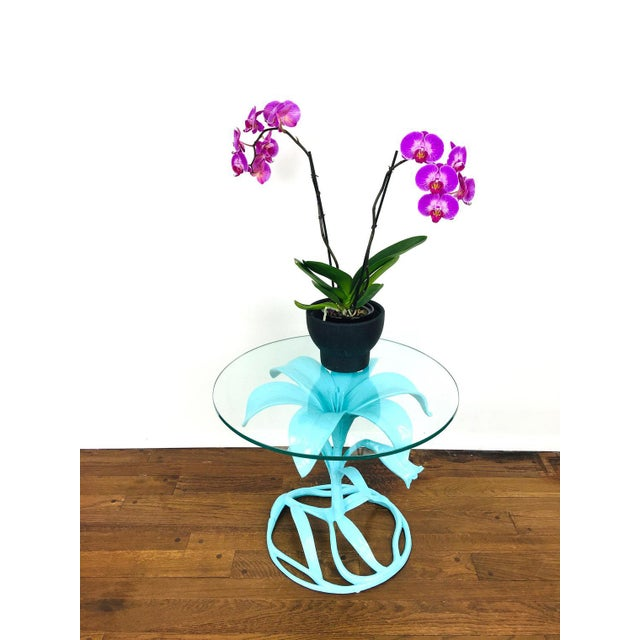 Vintage Arthur Court Style Side Table Made of molded aluminum. Art Nouveau style Lily design. Painted turquoise blue. 2...