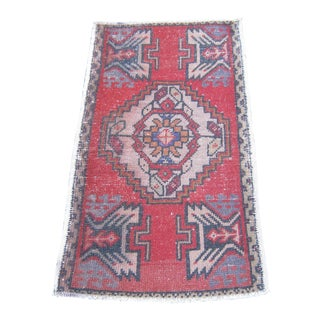 "Turkish Red Wool Pile Small Vintage Rug - 1'8"" x 3'1"""