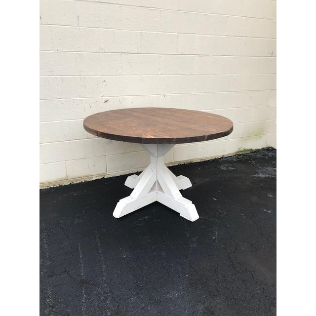 2010s Rustic Walnut Round Farm Table For Sale - Image 5 of 6