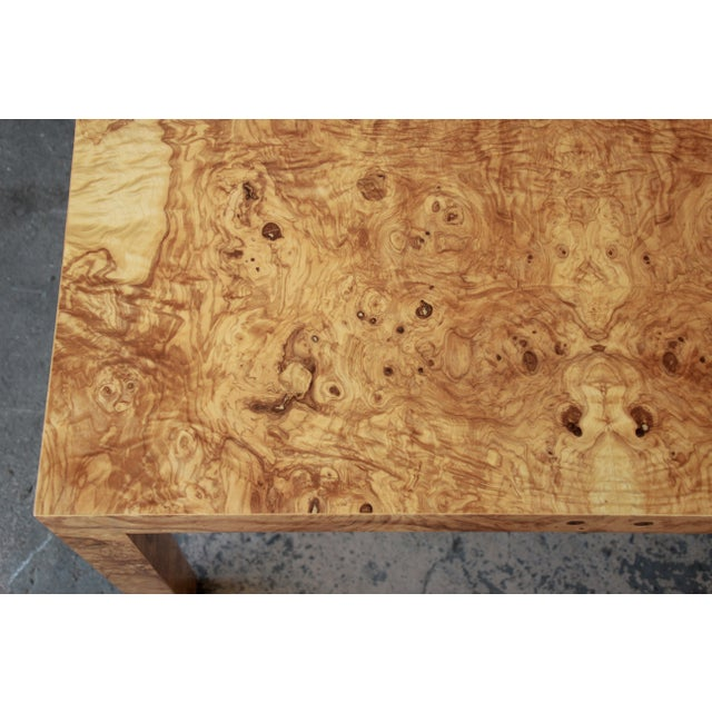 Milo Baughman for Directional Burl Wood Parsons Extension Dining Table For Sale - Image 10 of 11