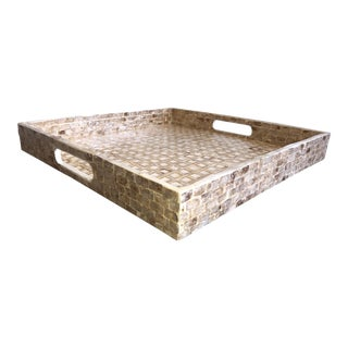 Tozai Home Large Gold Mosaic Square Tray For Sale