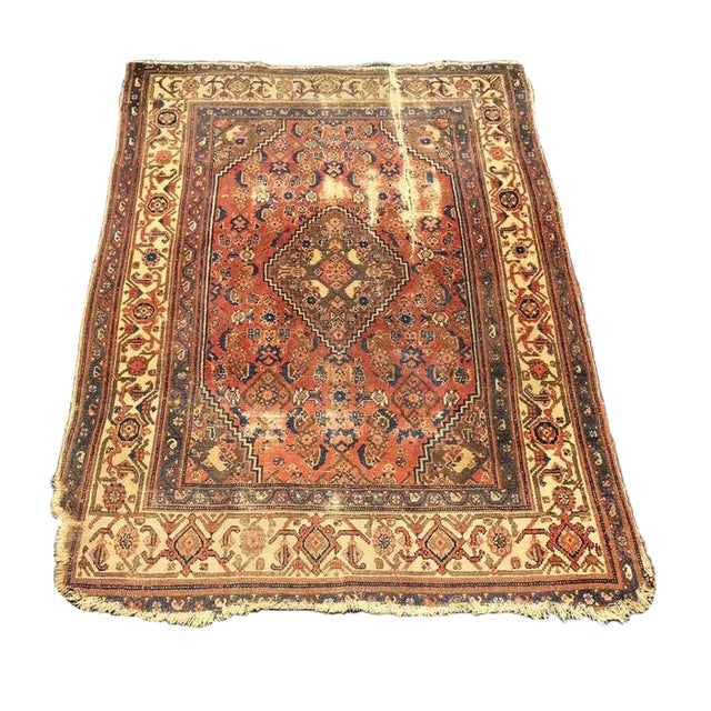 Antique Distressed Persian Rug / Wall Hanging - 4′4″ × 6′2″ - Image 1 of 10