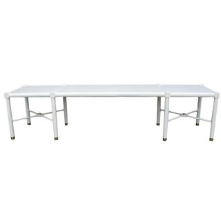 Mid-Century Modern White Lacquered Bench With Brass Details For Sale