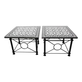 Moroccan Fez Mosaic Tables in Black and White Tiles - a Pair For Sale