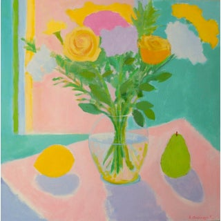 Flowers With Lemon and Pear by Anne Carrozza Remick For Sale