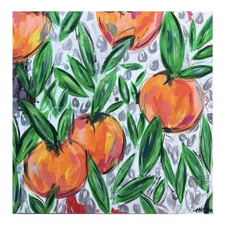 """Orange Blossoms for June"" Original Acrylic & Oil Pastels on Wood"