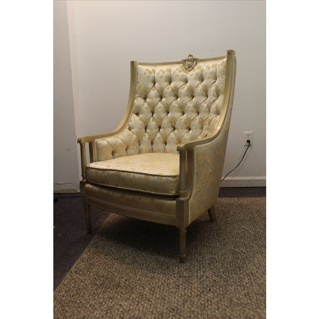 Vintage Tufted Back Louis XV French Bergere Chair - Image 2 of 11