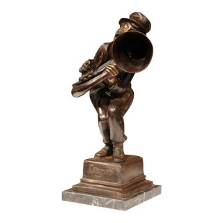 19th Century Italian Bronze Jazz Trumpet Player For Sale