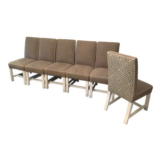 Quatrine Exposed Leg Dining Chairs - Set of 6 For Sale