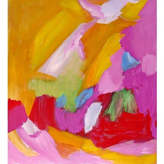"""""""Pink Red Yellow and Orange"""" Original Abstract Painting For Sale"""
