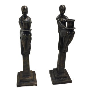 Maitland Smith Bronze Art Deco Candlesticks For Sale