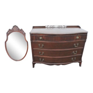 Flame Mahogany Carved Dresser With Mirror For Sale