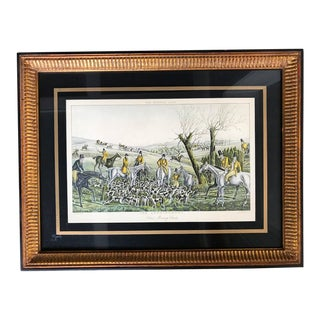 """Vintage Mid-Century """"The Pytchley Hunt"""" Framed French Lithograph Print For Sale"""