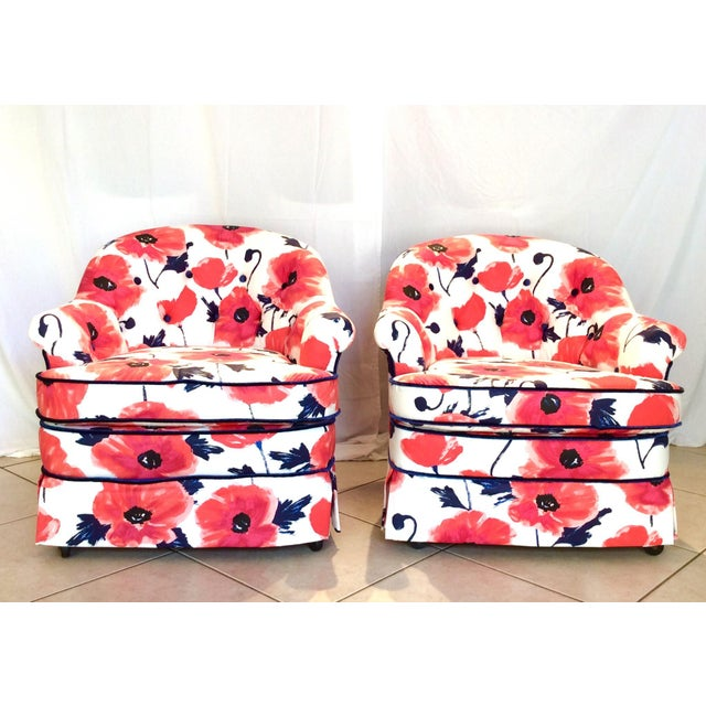 1990s Vintage Kate Spade Poppies Printed Fabric Swivel Chairs- A Pair For Sale - Image 10 of 10