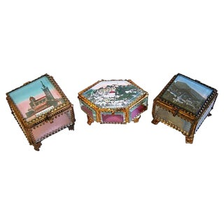 Grand Tour Antique French Ormolu Jewelry Boxes - Set of 3 For Sale