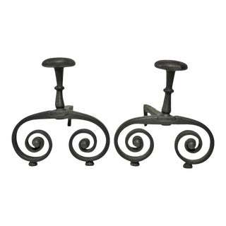 Antique Wrought Iron French Andirons