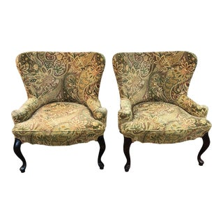 Vintage Paisley Velvet Slipper Chairs - a Pair For Sale