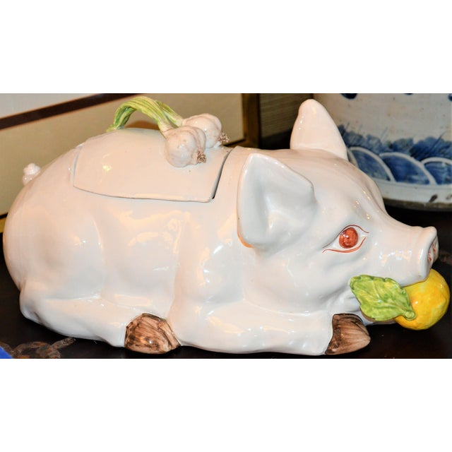 Large Majolica Pig Tureeen - Image 6 of 11