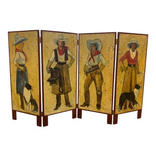 Signed Vintage Western Painted Screen For Sale
