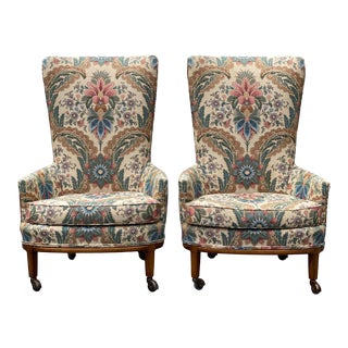 Vintage Boho Chic Floral Wing Back Accent Club Chairs – a - a Pair For Sale
