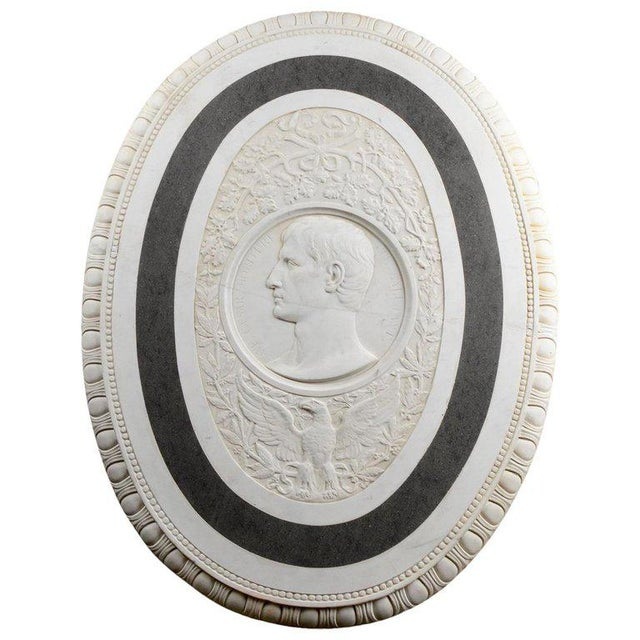 Large 19th Century Oval Marble Relief of the Roman Emperor Claudius With Eagle For Sale - Image 10 of 10