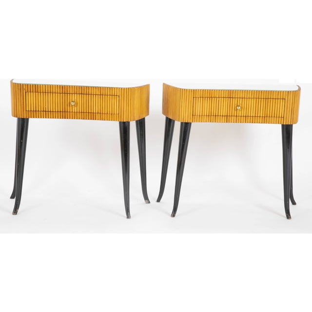 1950's Italian Reeded and Ebonized Side Tables-a Pair For Sale In New York - Image 6 of 6