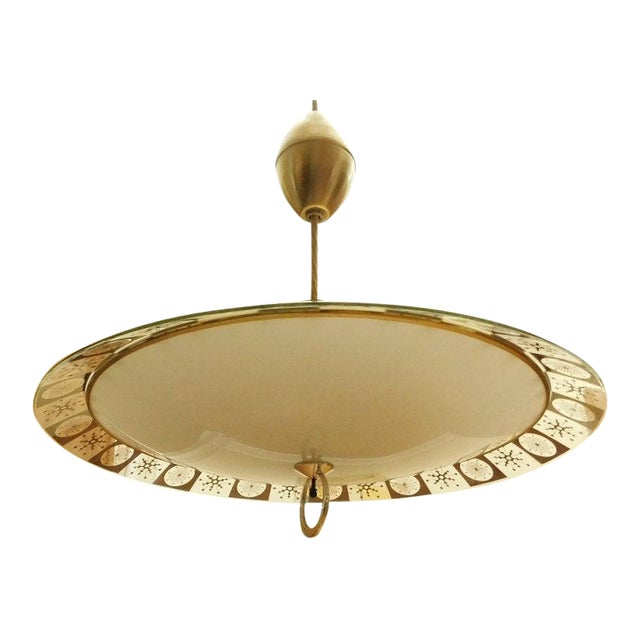 Lightoleir Mid-Century Retractable Atomic Saucer Chandelier - Image 1 of 6