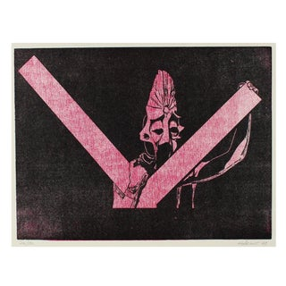 Figurative Woodcut in Pink & Black 1969 For Sale