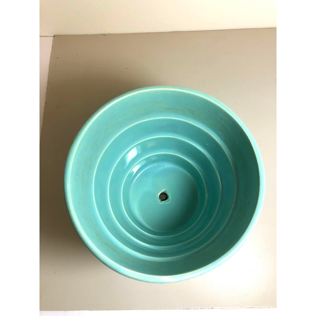 """American McCoy Pottery 1940s - 1960s Large """"Teal Blue"""" Mid-Century Flowerpot and Saucer For Sale - Image 3 of 6"""