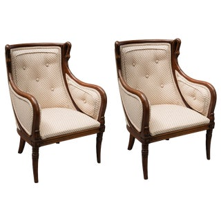 19th Century Children's Directoire Style Mahogany Bergere Chairs - a Pair For Sale