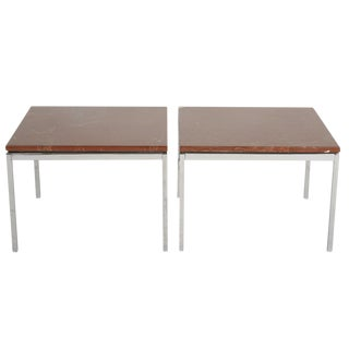 Florence Knoll Chromed Steel & Rojo Alicante End Tables - a Pair For Sale