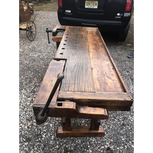 Vintage Hand Made Vermont Large Oak Work Table Console Bar For Sale In Philadelphia - Image 6 of 13