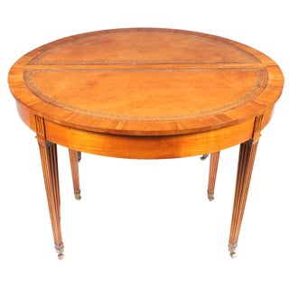 1940s French Leather Top Round Dining Table For Sale