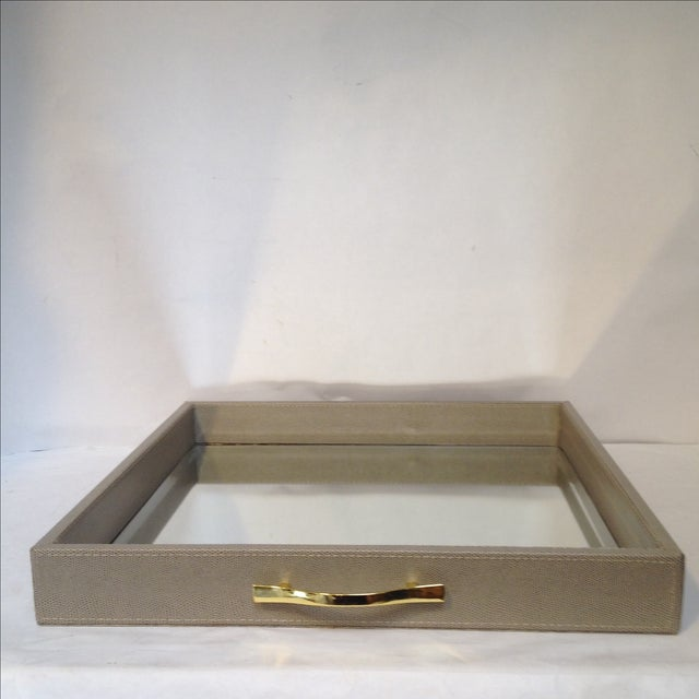Large Shagreen-Texture Mirrored Tray - Image 2 of 7