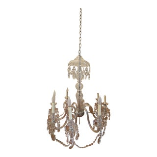 Vintage Shabby Chic Crystal Chandelier For Sale