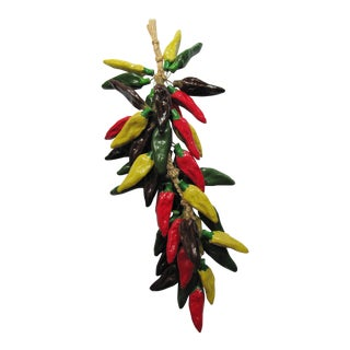 Hand-Painted Vintage Ristra/ String of Ceramic Jalapeno Peppers For Sale