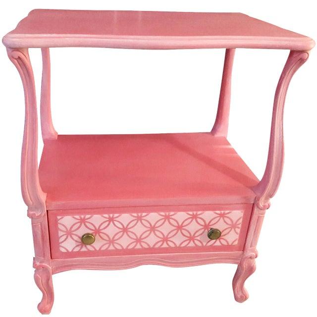 Shabby Chic Pink Nightstand - Image 1 of 5