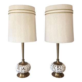 Mid-Century Modern Carved Ceramic and Brass Lamps - A Pair