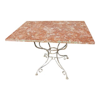 Antique French Solid Marble Top and Shabby Chic Iron Base Baker's Table